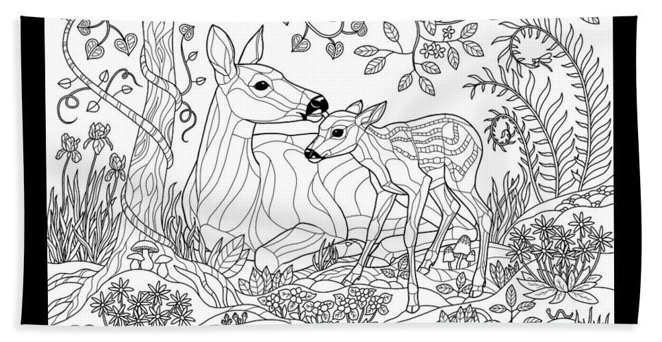 Adult Coloring Page Beach Towel Featuring The Digital Art Deer Fantasy Forest By Crista