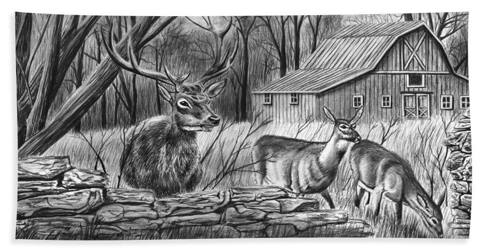Deer Field Beach Towel featuring the drawing Deer Field by Peter Piatt