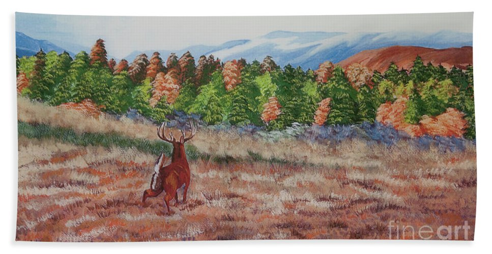 Fall Paintings Beach Towel featuring the painting Deer In Fall by Charlotte Blanchard