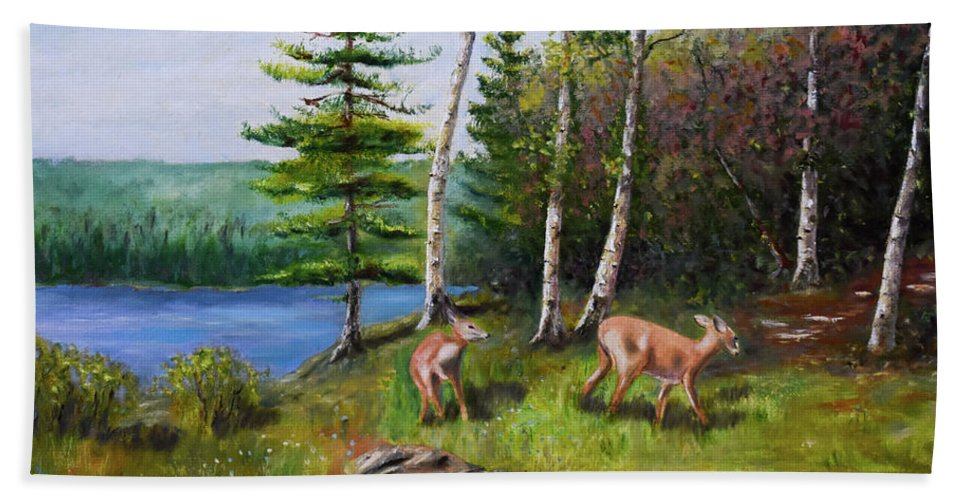 Landscape Beach Towel featuring the painting Deer Meadow by Ron Gallant