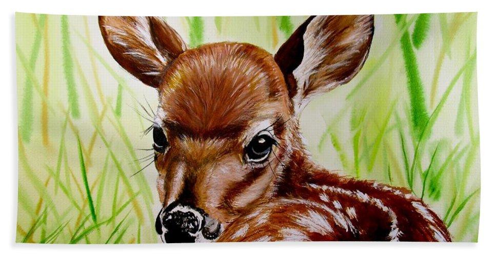 Deer Painting Beach Towel featuring the painting Deerly Beloved by Carol Blackhurst