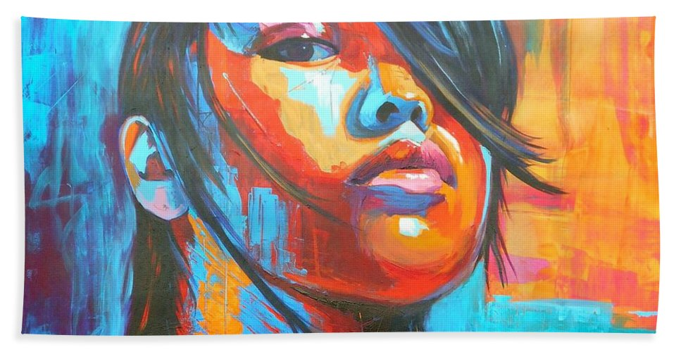 Art Beach Towel featuring the painting Defiance by Angie Wright