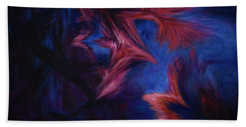 Abstract Beach Towel featuring the painting Deja Vu by Rachel Christine Nowicki