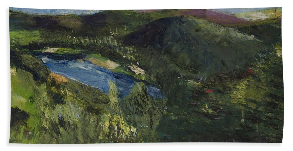 Landscape Beach Towel featuring the painting Delaware River Summer by Gail Eisenfeld