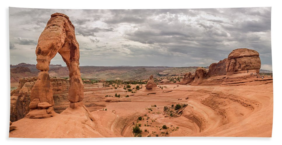 3scape Beach Sheet featuring the photograph Delicate Arch Panoramic by Adam Romanowicz