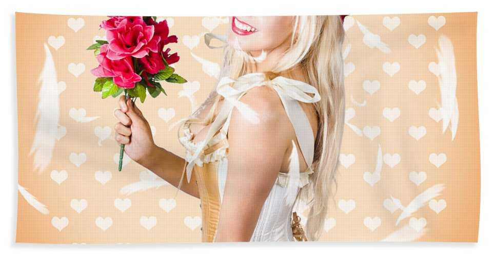 Romance Beach Towel featuring the photograph Delicate Young Woman Holding Flower Bunch by Jorgo Photography - Wall Art Gallery