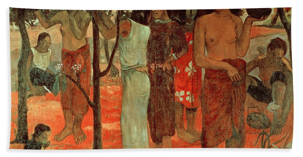 Nave Nave Mahana (delightful Days) Beach Towel featuring the painting Delightful Days by Paul Gauguin