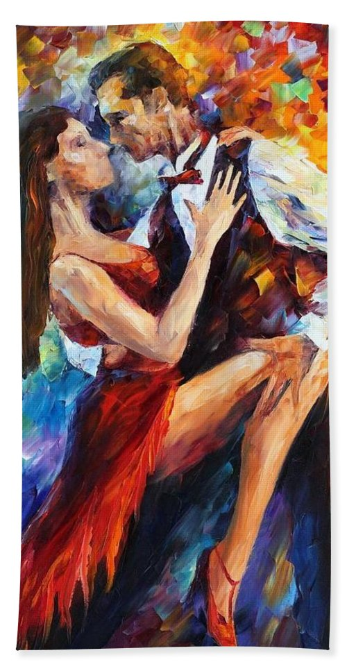 Afremov Beach Towel featuring the painting Delightful Tango by Leonid Afremov