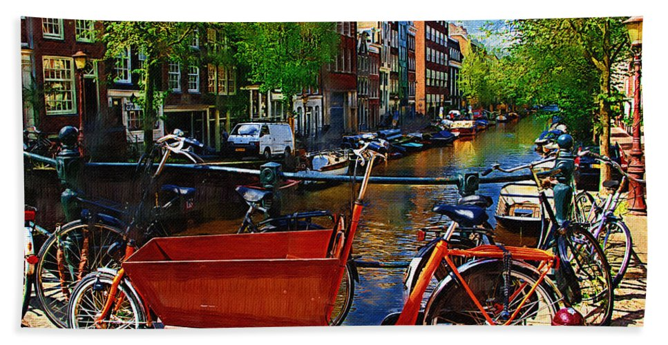 Bike Beach Towel featuring the photograph Delivery Bike by Tom Reynen
