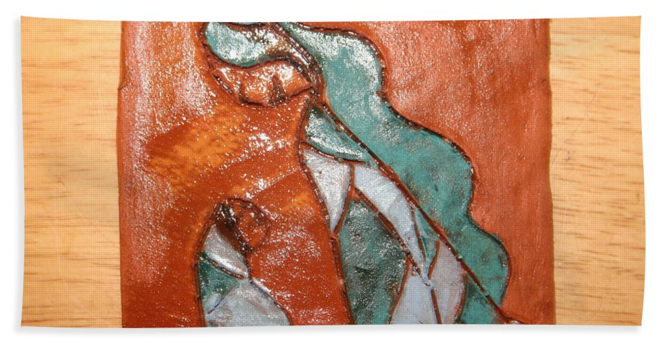 Jesus Beach Towel featuring the ceramic art Dellas Gal - Tile by Gloria Ssali
