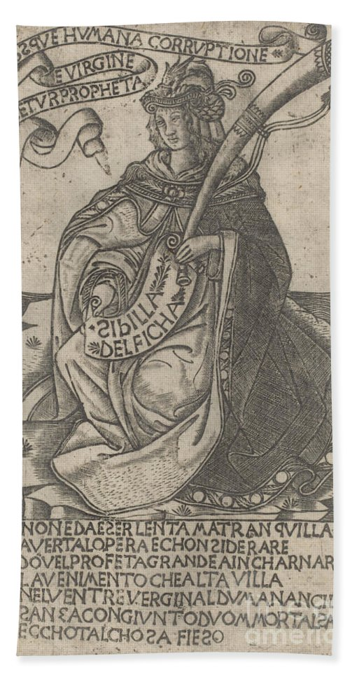 Beach Towel featuring the drawing Delphian Sibyl by After Baccio Baldini