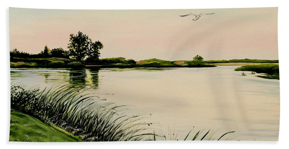 Landscape Beach Towel featuring the painting Delta At Dusk by Elizabeth Robinette Tyndall