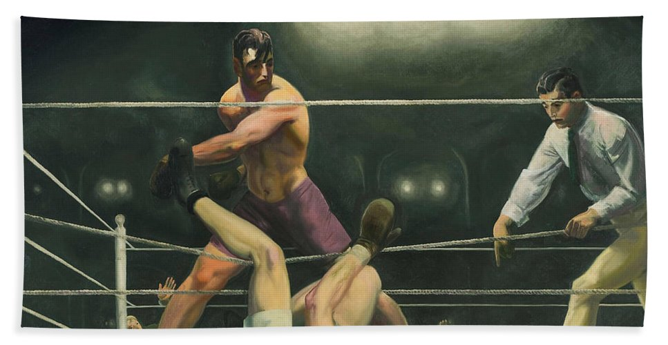 Boxing Beach Towel featuring the painting Dempsey And Firpo Boxing - George Bellows by War Is Hell Store