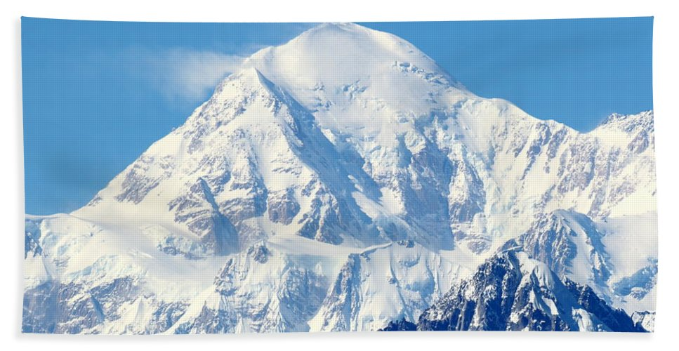 Denali Beach Towel featuring the photograph Denali From Denali Viewpoint South by Steve Wolfe