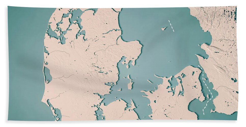 Denmark Topographic Map.Denmark Country 3d Render Topographic Map Neutral Border Beach Towel