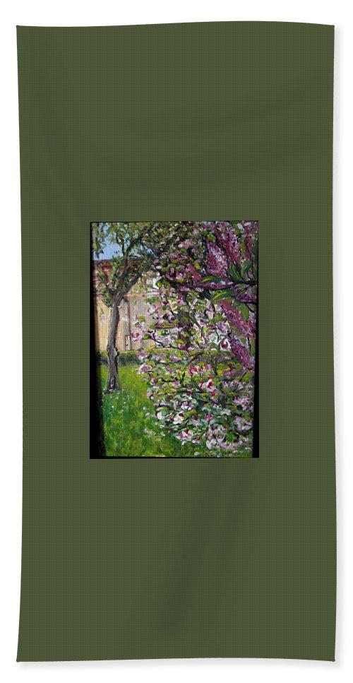 Landscape Beach Towel featuring the painting Dentist Flowers by Pablo de Choros