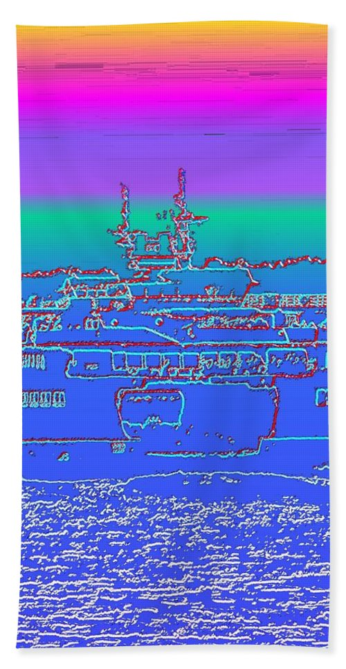 Digital Photo Manipulation Beach Towel featuring the photograph Departing Ferry by Tim Allen