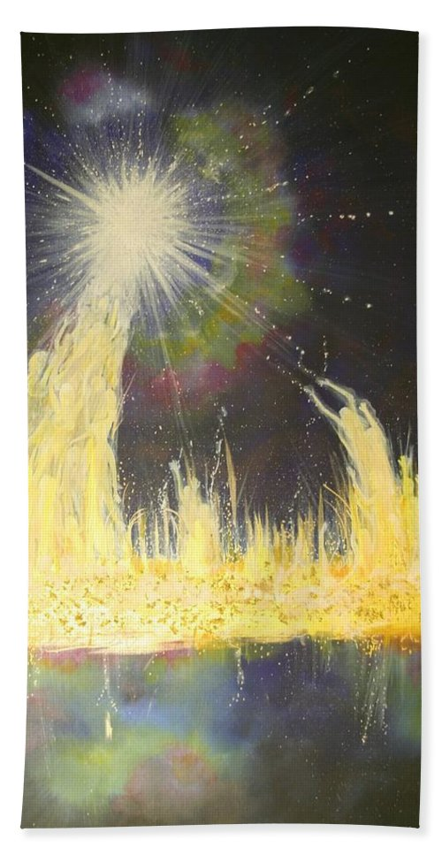 Heaven Beach Towel featuring the painting Departure by Naomi Walker