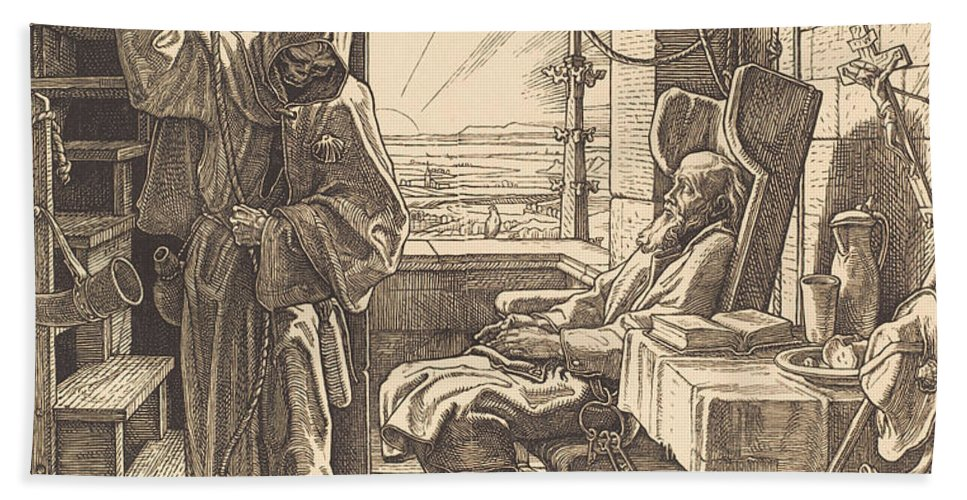 Beach Towel featuring the drawing Der Tod Als Freund by Alfred Rethel