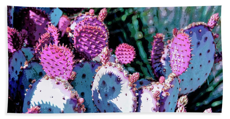 Cactus Beach Towel featuring the mixed media Desert Blush by Dominic Piperata