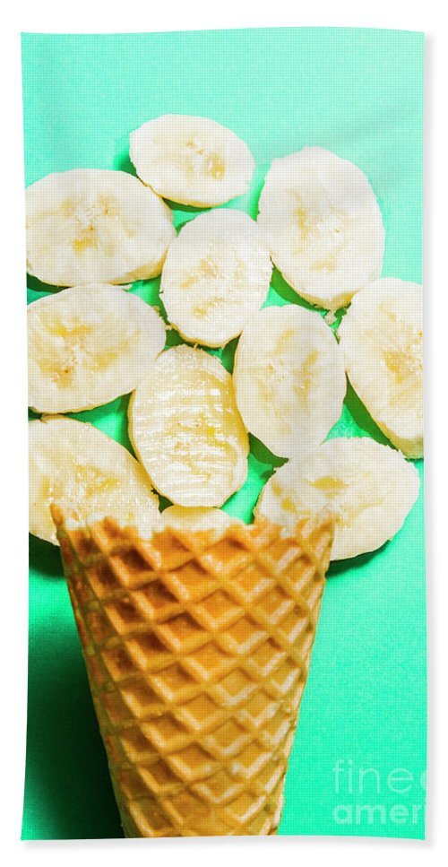 Banana Beach Towel featuring the photograph Dessert Concept Of Ice-cream Cone And Banana Slices by Jorgo Photography - Wall Art Gallery