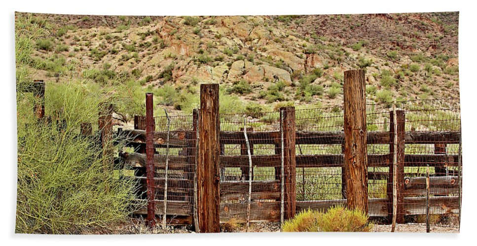 Corral Beach Towel featuring the photograph Desert Corral by Phyllis Denton