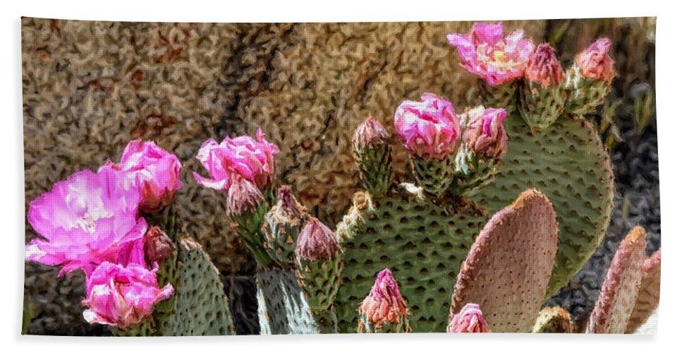 Glenn Mccarthy Beach Towel featuring the photograph Desert Plants - Fuchsia Cactus Flowers by Glenn McCarthy Art and Photography