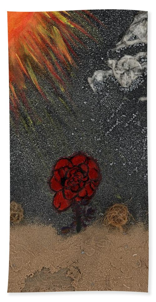 Desert Beach Towel featuring the mixed media Desert Rose by Amite Duncan