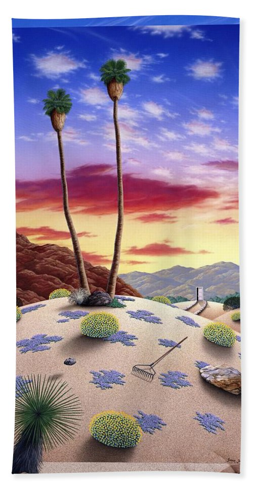 Desert Beach Towel featuring the painting Desert Sunrise by Snake Jagger