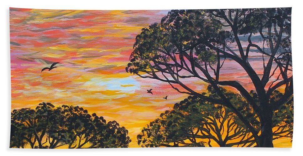Barbara Griffin Beach Towel featuring the painting Desert Sunset by Barbara Griffin