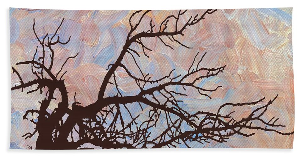 Abstract Beach Sheet featuring the digital art Desert Tree Branch by Linda Mears