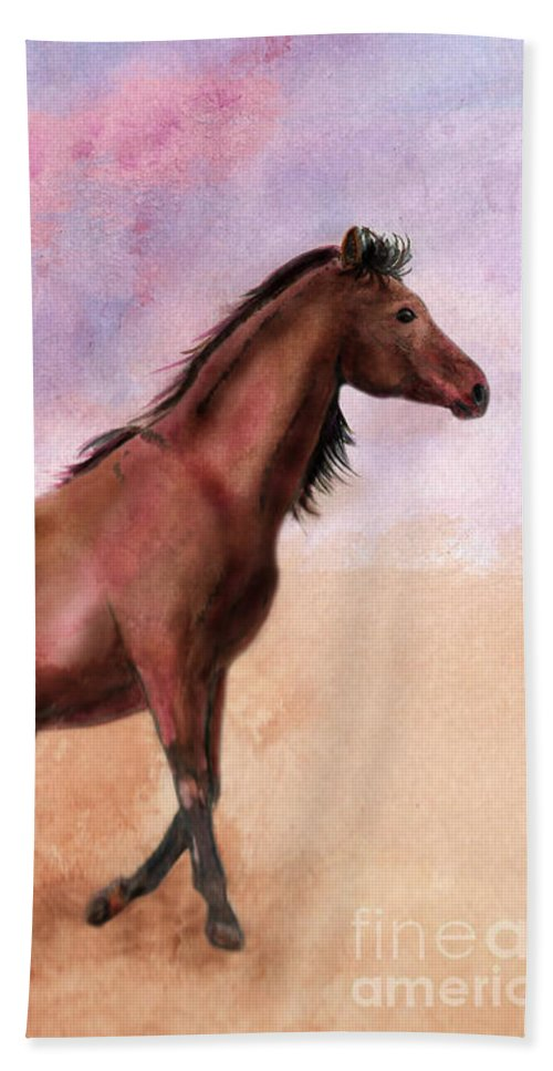 Horse Beach Towel featuring the mixed media Desert Wind by Laura Russell