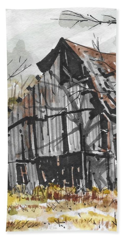 Landscape Beach Towel featuring the drawing Deserted Barn by Jim Hamm
