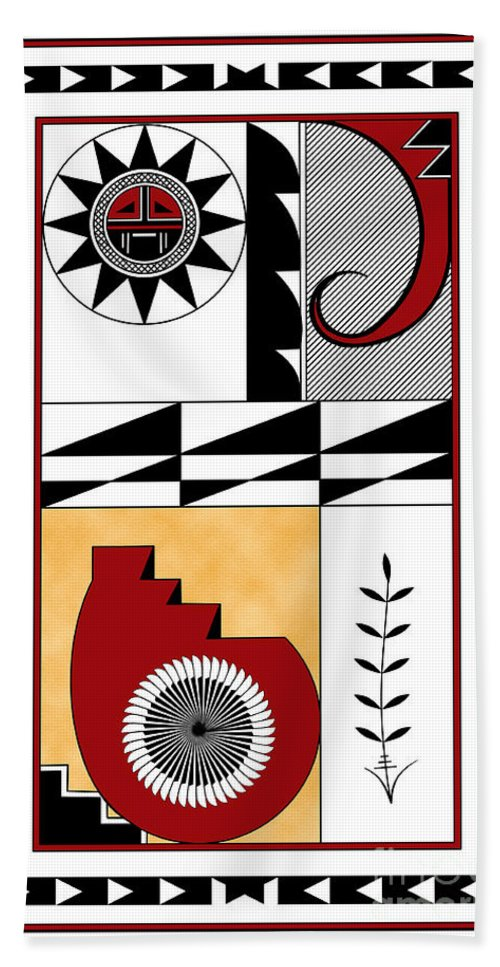 Southwest Beach Towel featuring the digital art Southwest Collection - Design Five In Red by Tim Hightower