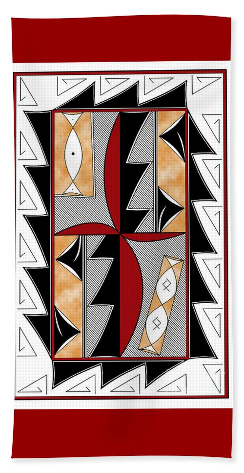 Southwest Beach Towel featuring the digital art Southwest Collection - Design One In Red by Tim Hightower