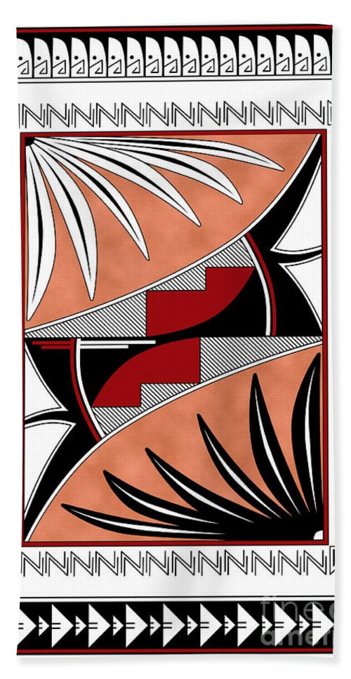Southwest Beach Towel featuring the digital art Southwest Collection - Design Three In Red by Tim Hightower
