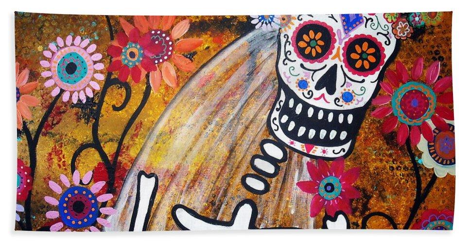 Dia Beach Towel featuring the painting Desposada by Pristine Cartera Turkus