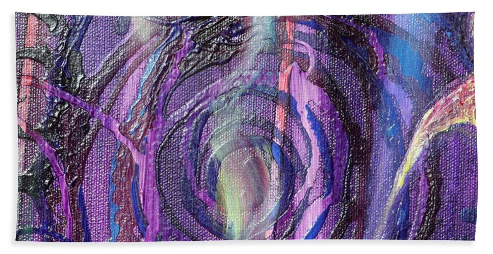 Psychedelic Beach Towel featuring the painting Detail From Annuciation by Anne Cameron Cutri