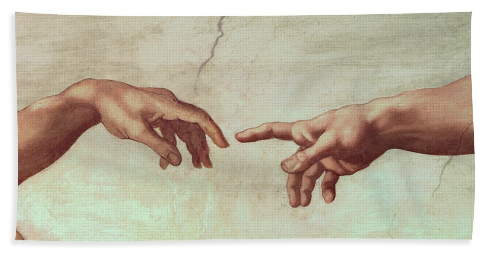 Hands Beach Towel featuring the painting Detail From The Creation Of Adam by Michelangelo