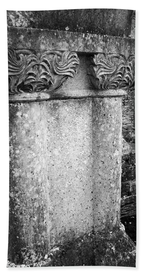 Irish Beach Sheet featuring the photograph Detail Of Capital Of Cloister At Cong Abbey Cong Ireland by Teresa Mucha