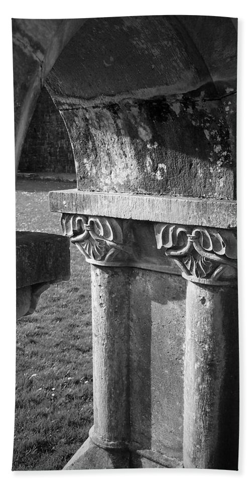 Irish Beach Towel featuring the photograph Detail Of Cloister At Cong Abbey Cong Ireland by Teresa Mucha
