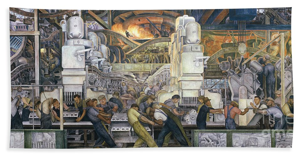 Machinery; Factory; Production Line; Labour; Worker; Male; Industrial Age; Technology; Automobile; Interior; Manufacturing; Work; Detroit Industry Beach Towel featuring the painting Detroit Industry  North Wall by Diego Rivera