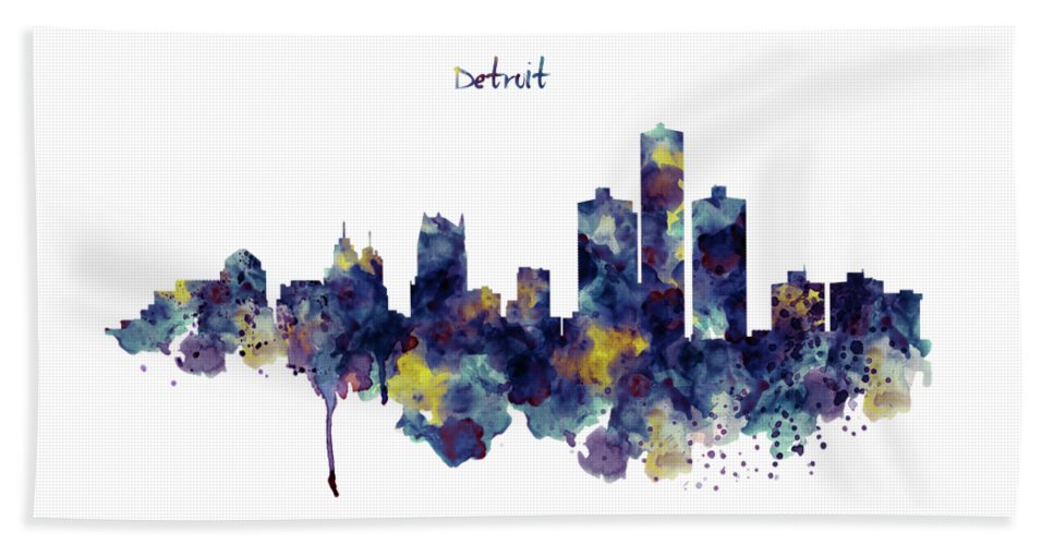Detroit Beach Towel featuring the painting Detroit Skyline Silhouette by Marian Voicu