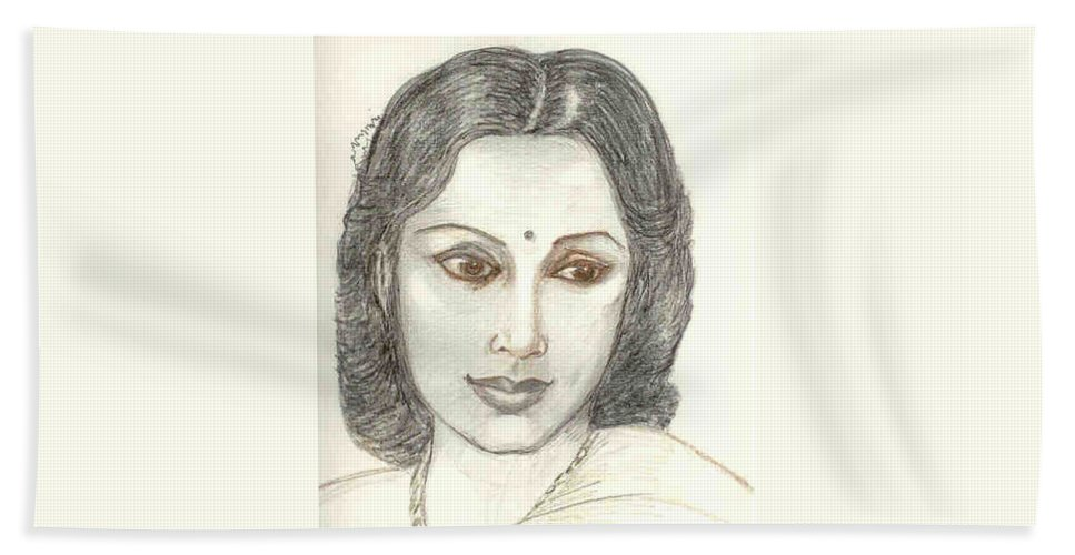 Beach Sheet featuring the drawing Devika Rani - Svetoslav Roerich by Asha Sudhaker Shenoy