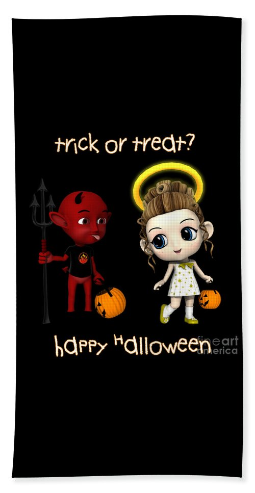 Devil Or Angel Beach Towel featuring the digital art Devil Or Angel Trick Or Treat by Methune Hively