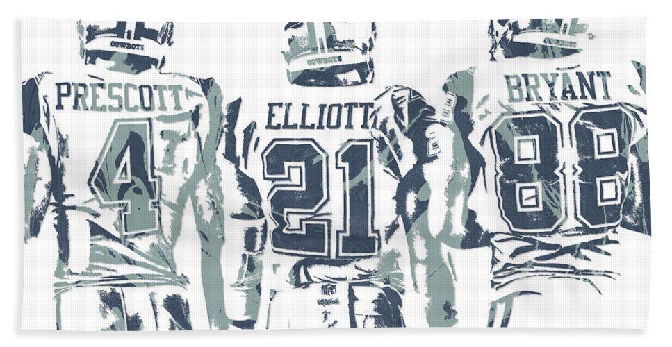 Dez Bryant Ezekiel Elliott Dak Prescott Dallas Cowboys Pixel Art Beach Sheet