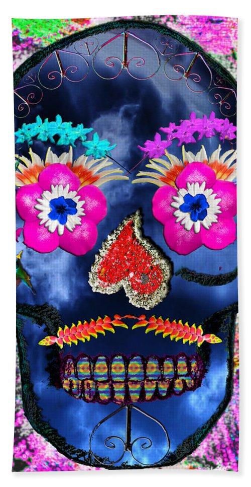 Skull Beach Towel featuring the mixed media Dia De Los Muertos by Dolly Sanchez