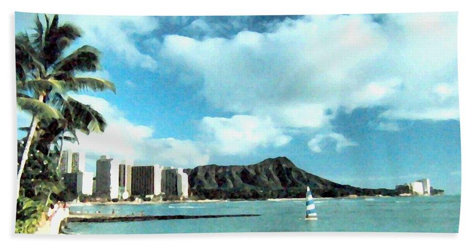 1986 Beach Towel featuring the digital art Diamond Head by Will Borden