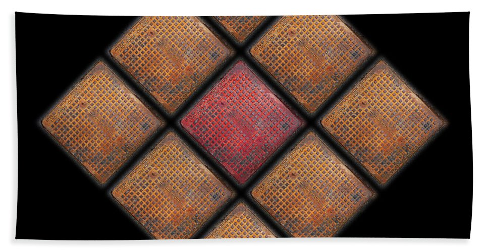 Urban Beach Towel featuring the photograph Diamond Red by Charles Stuart