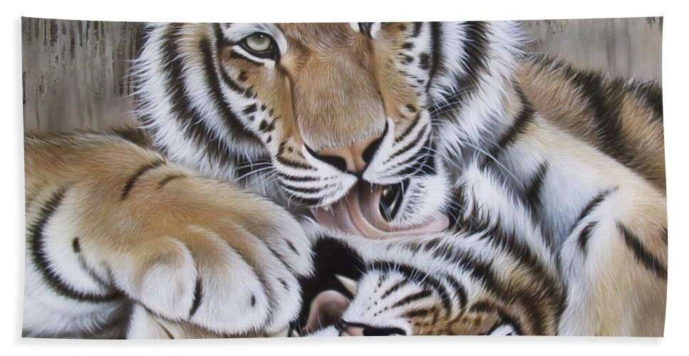 Acrylic Beach Towel featuring the painting Diana's Duo by Sandi Baker